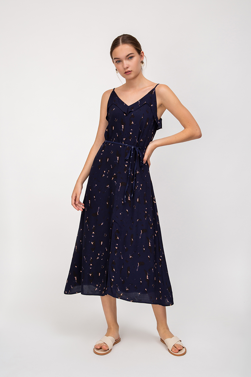 HELIENE ABSTRACT MIDI DRESS W SASH