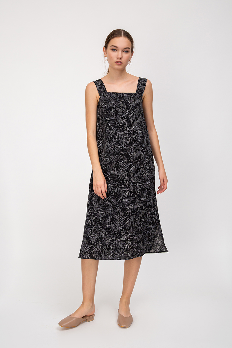 TZIA LEAF PRINT KNOT STRAP MIDI DRESS