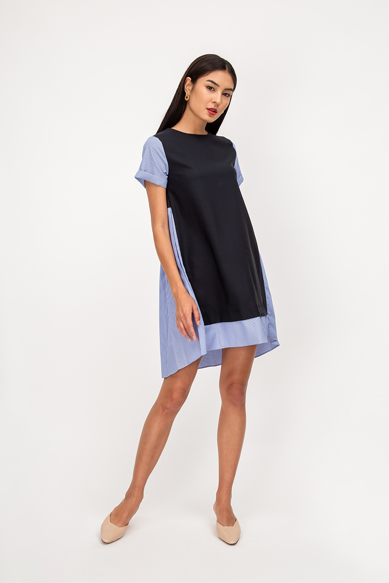 COLSON BACK PLEAT STRIPE DRESS