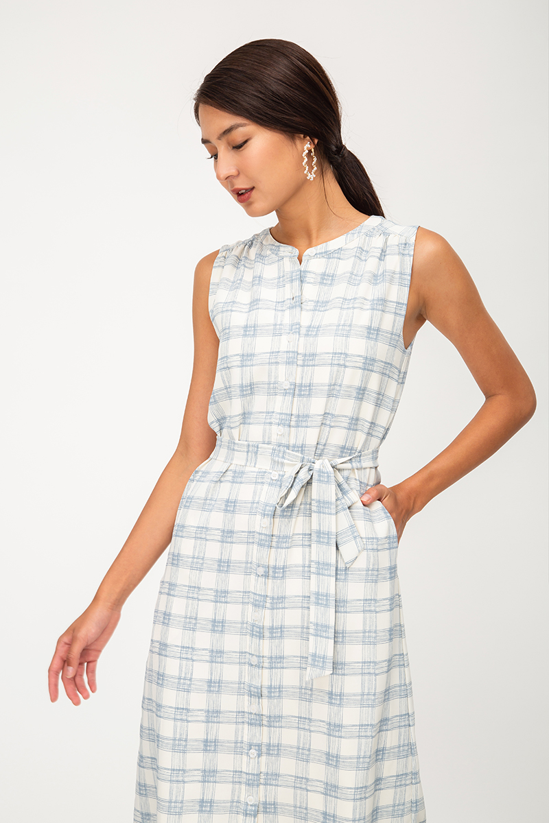 SURYA CHECKERED BUTTONDOWN DRESS W SASH
