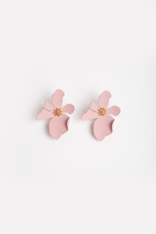 PINK CRINKLE PETALS FLOWER EARRINGS