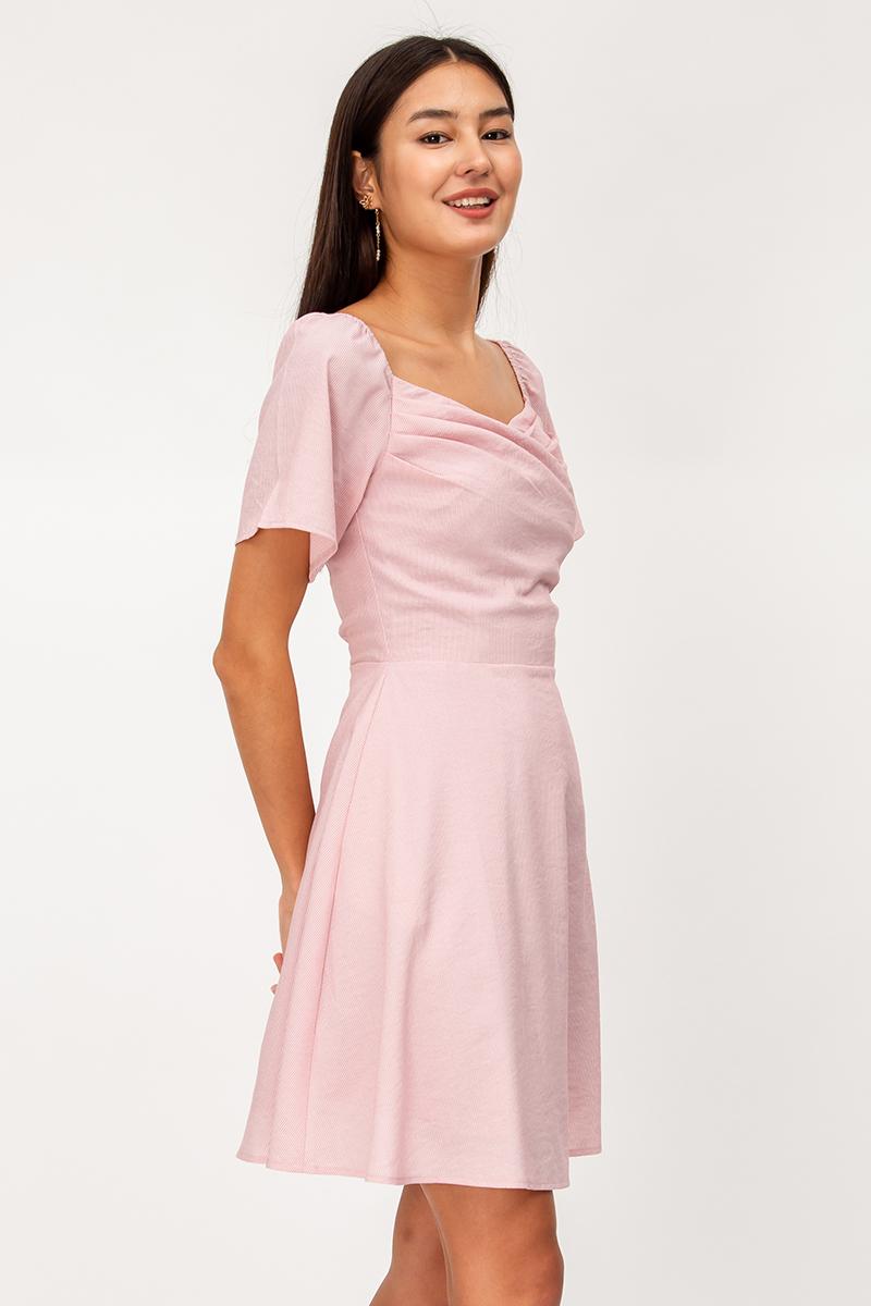 NYOMI STRIPE RUCHED FLARE DRESS