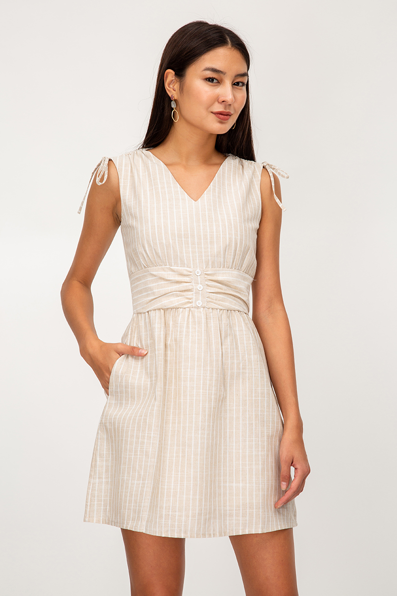 AUDRA STRIPE FLARE DRESS