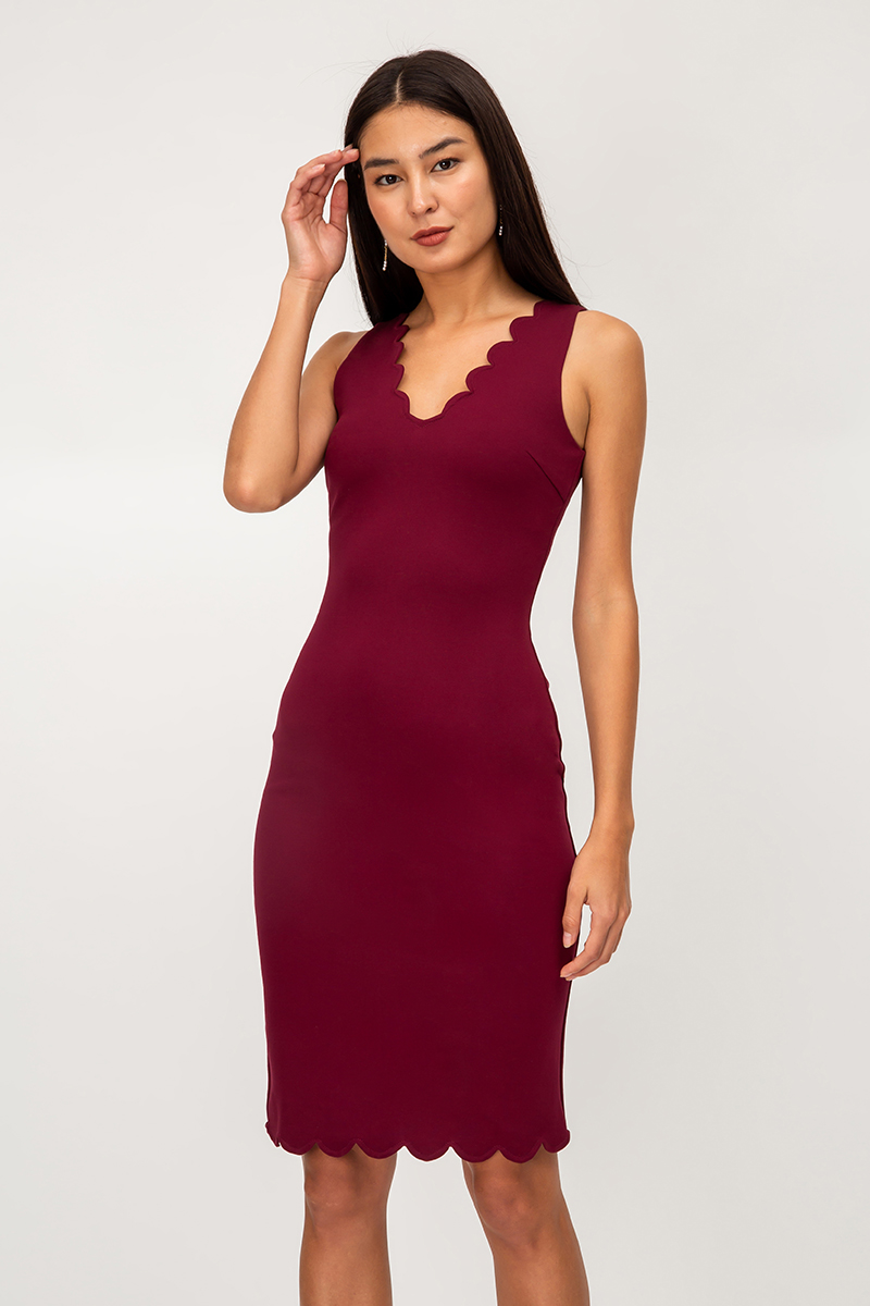 DAVINA SCALLOP HEM SHEATH DRESS