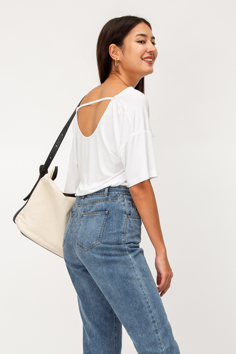 KRESTEN COWL NECK CUTOUT BACK TOP