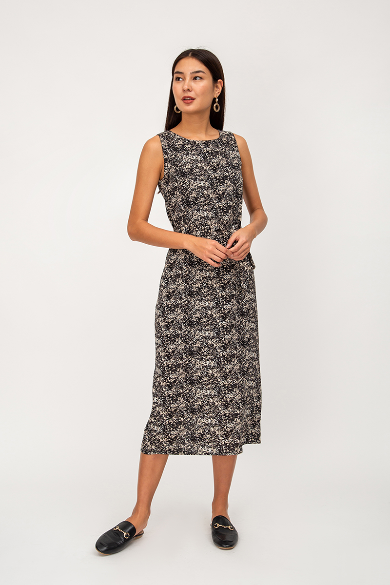 ELORA ABSTRACT DRESS W SASH