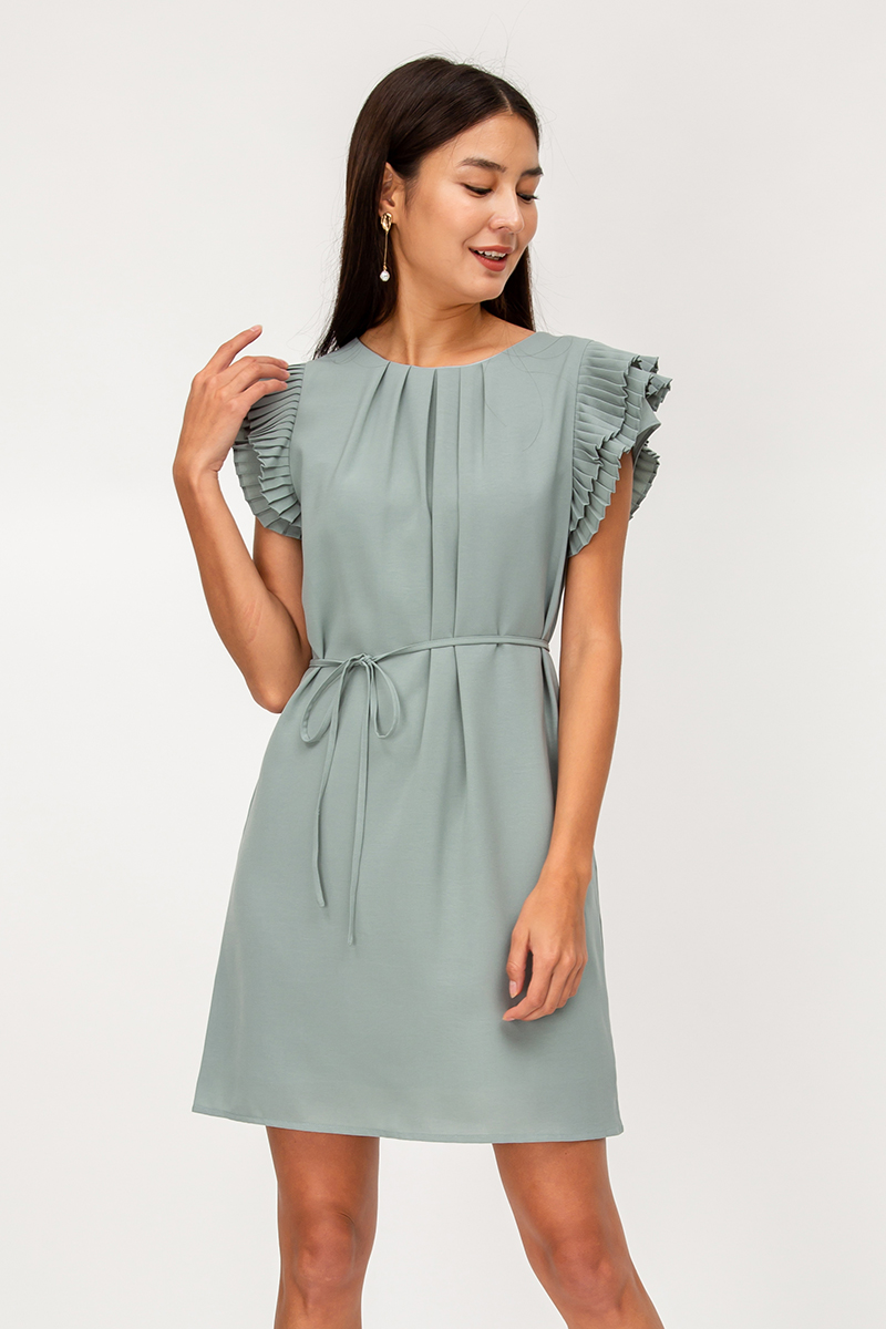 CAMIE PLEATED SLEEVES DRESS W SASH