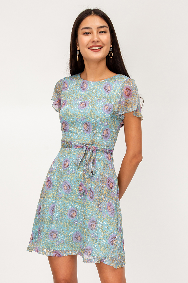 MABEL FLORAL FLARE DRESS W SASH