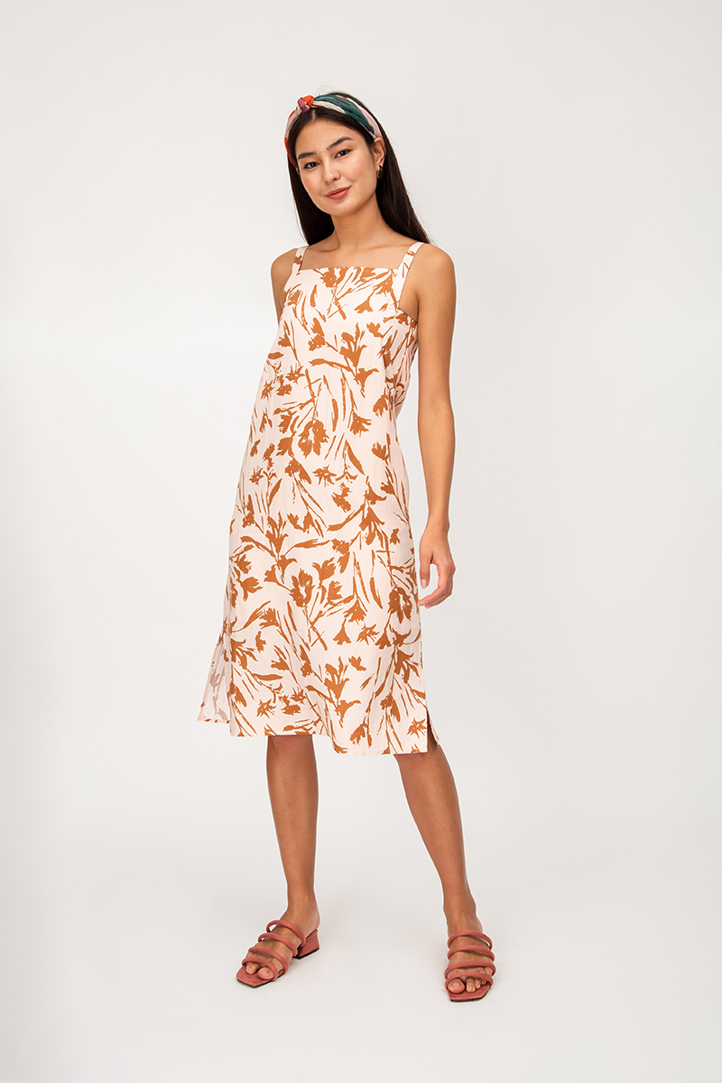 RIMA FLORAL SQUARE NECK MIDI DRESS