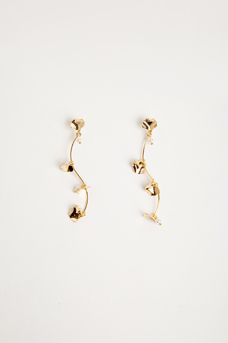 PEARL PETAL SWIRL DROP EARRINGS