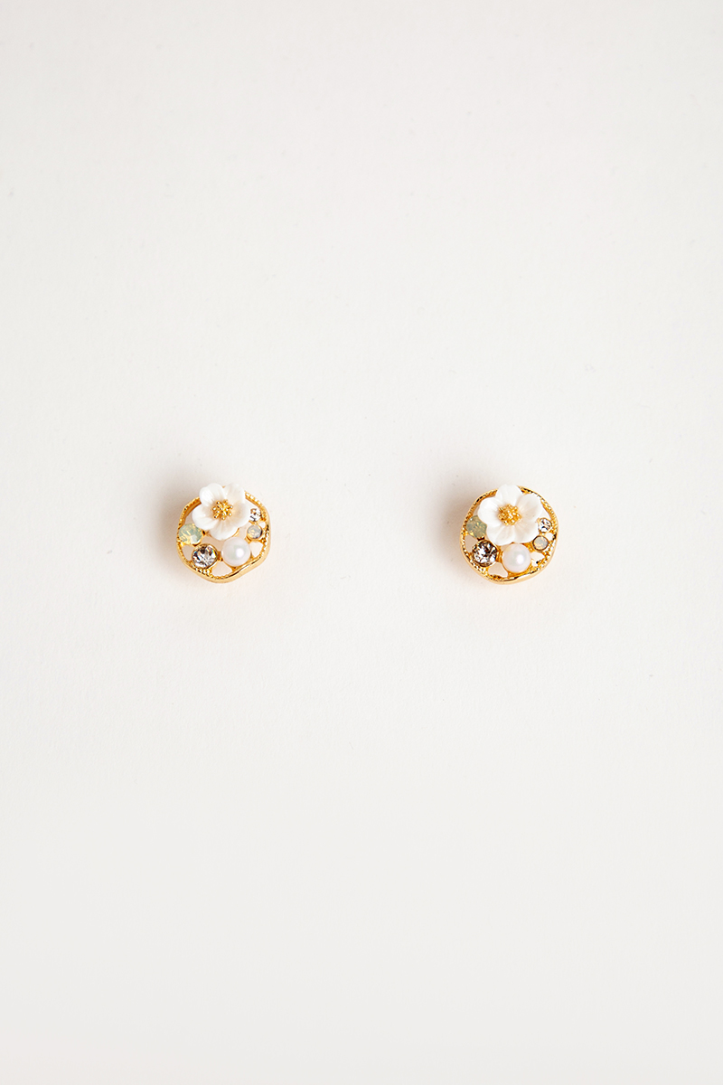 MINI FLORAL PEARL BLING STUD EARRINGS