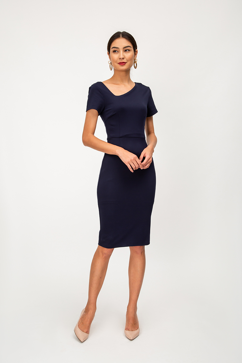 RICHELLE ASYMMETRICAL NECKLINE DRESS