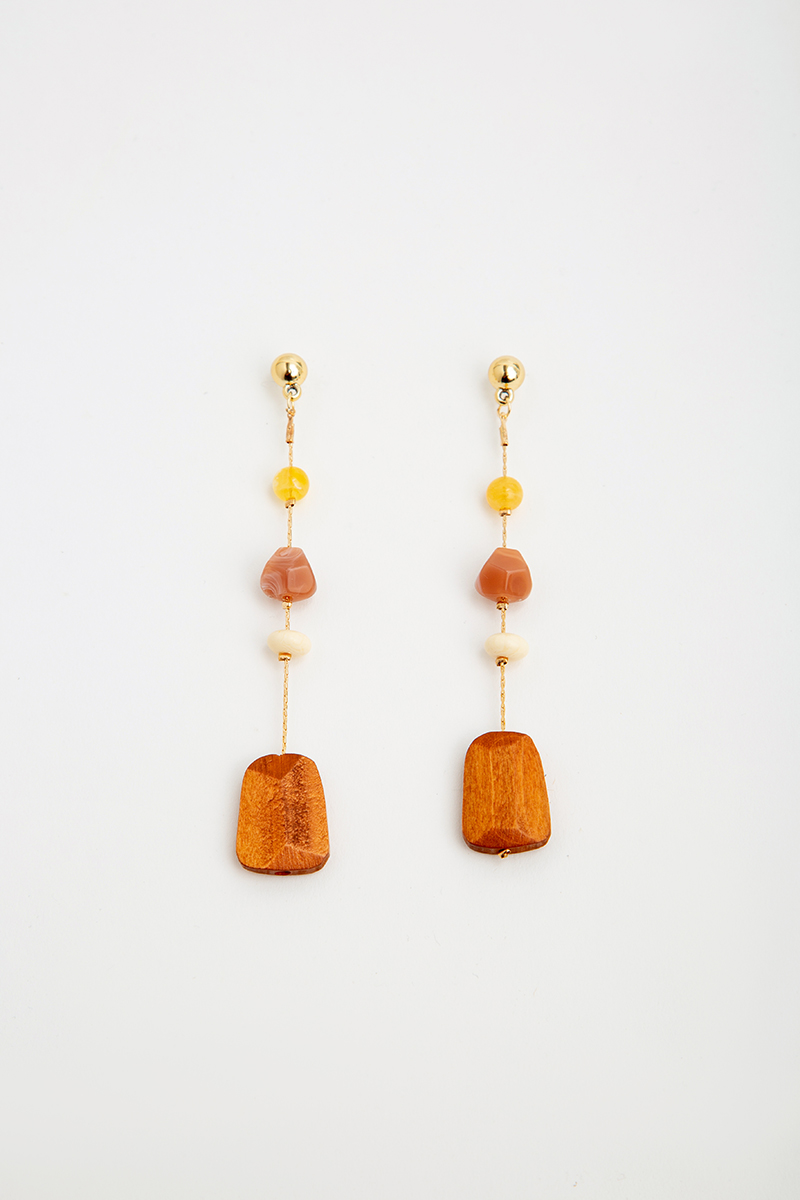 WOOD DANGLE BEADED DROP EARRINGS