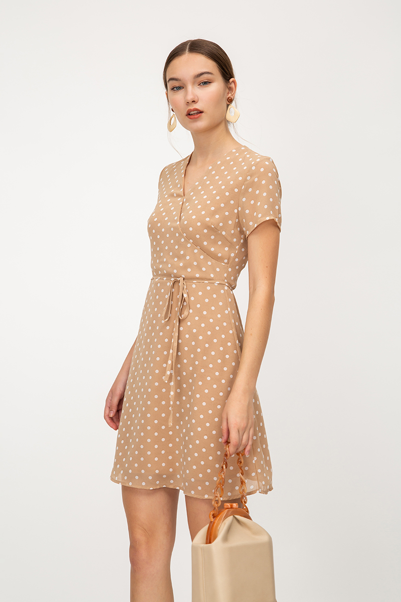 STEFFA POLKADOT SKATER DRESS W SASH