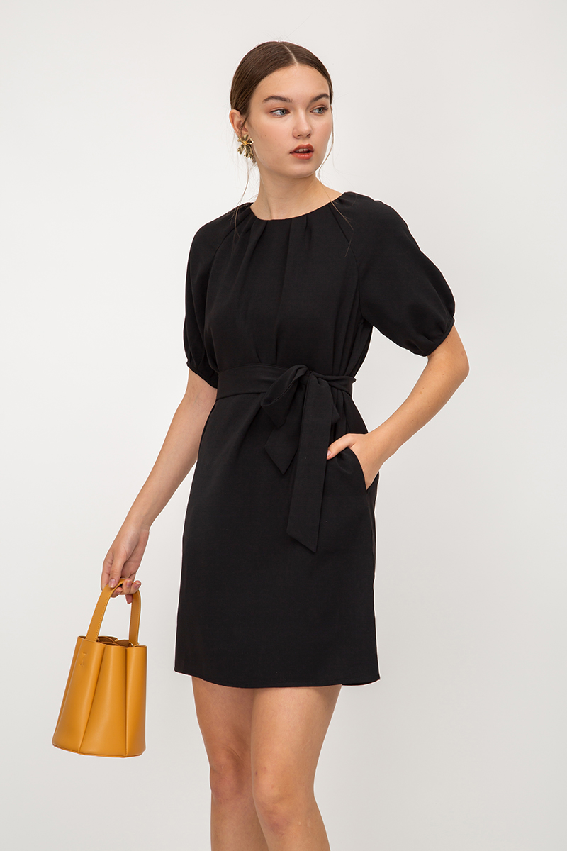 SAISHA PUFF SLEEVE DRESS W SASH