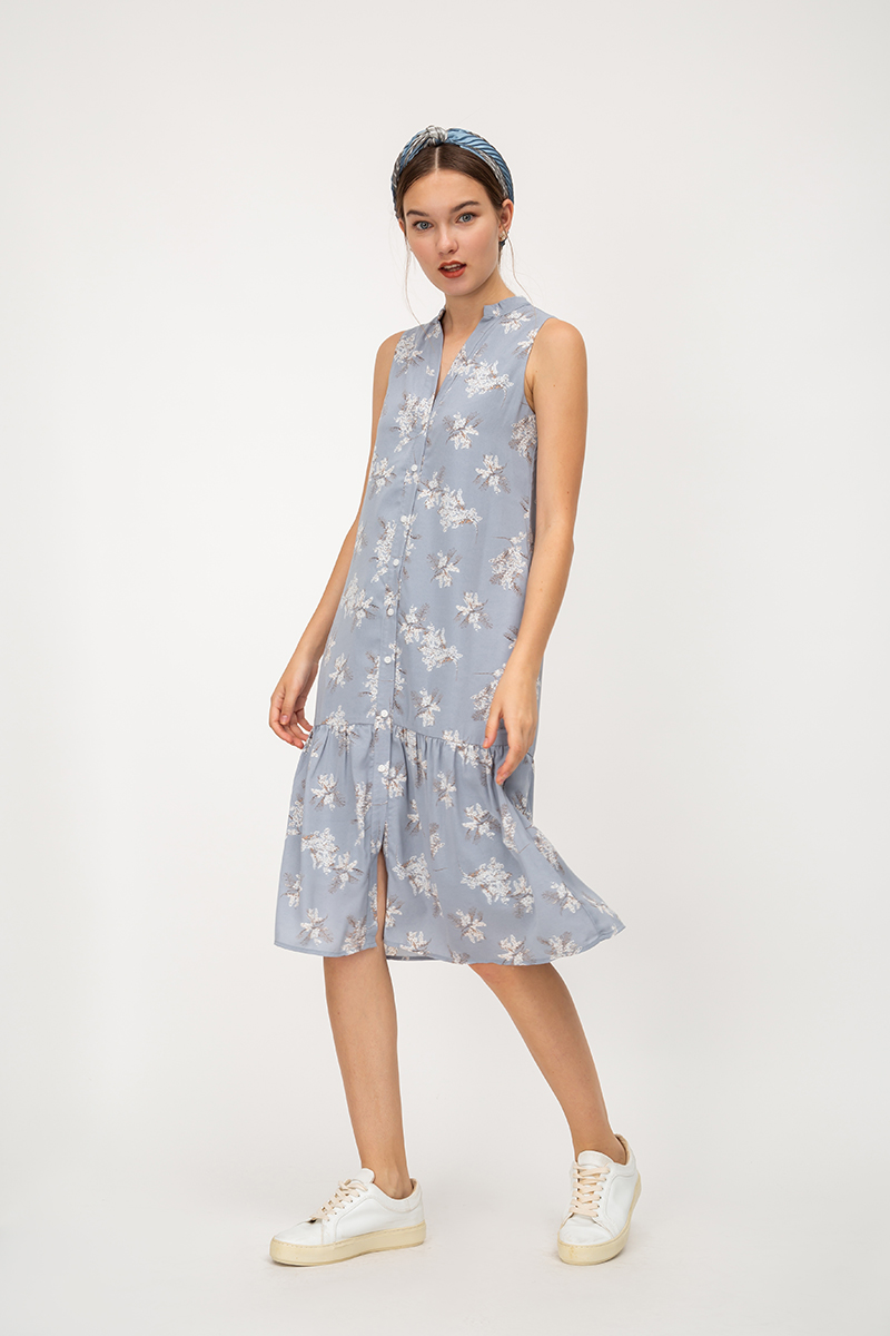 CARMEN FLORAL BUTTONDOWN DROPWAIST DRESS