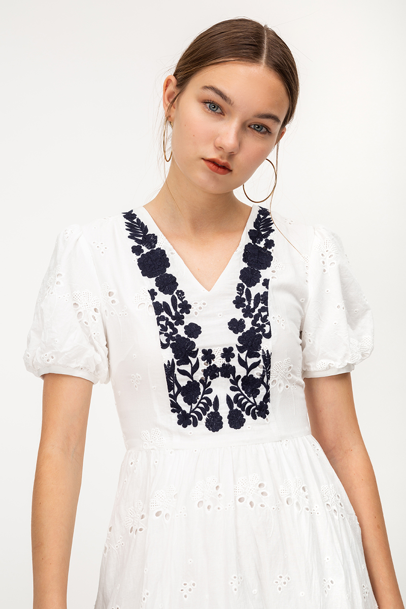 MARIN PUFF SLEEVE FLORAL EMBROIDERY DRESS