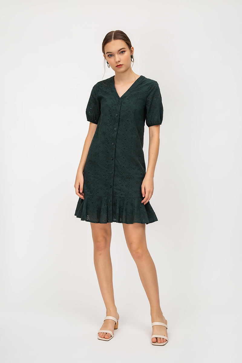 LENDA EYELET PUFF SLEEVE DROPWAIST DRESS