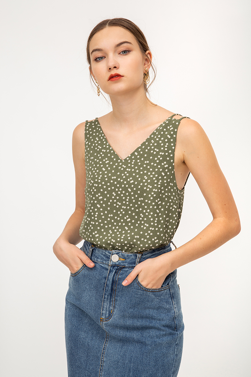 FIFI SQUARE CONFETTI STRAPPY TOP