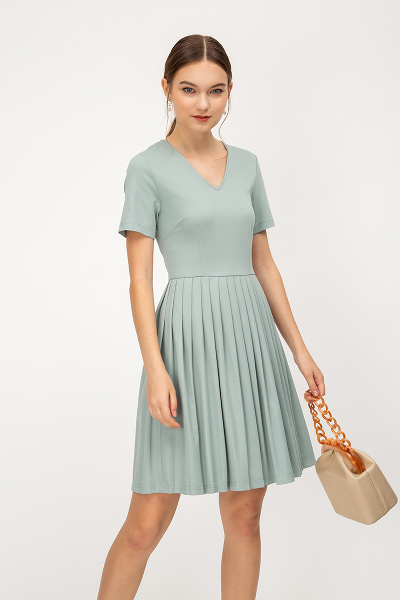 WINONA PLEATED FLARE DRESS