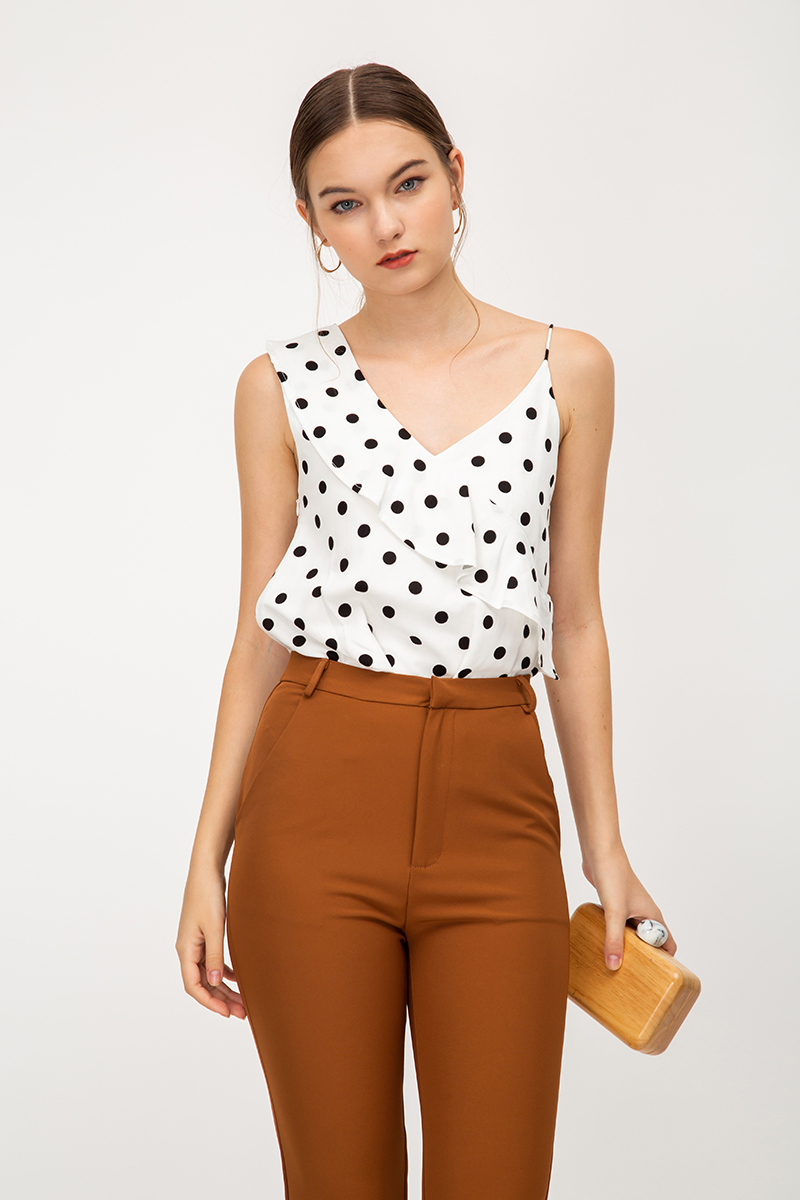 STACIA POLKADOT RUFFLE LAYERED TOP
