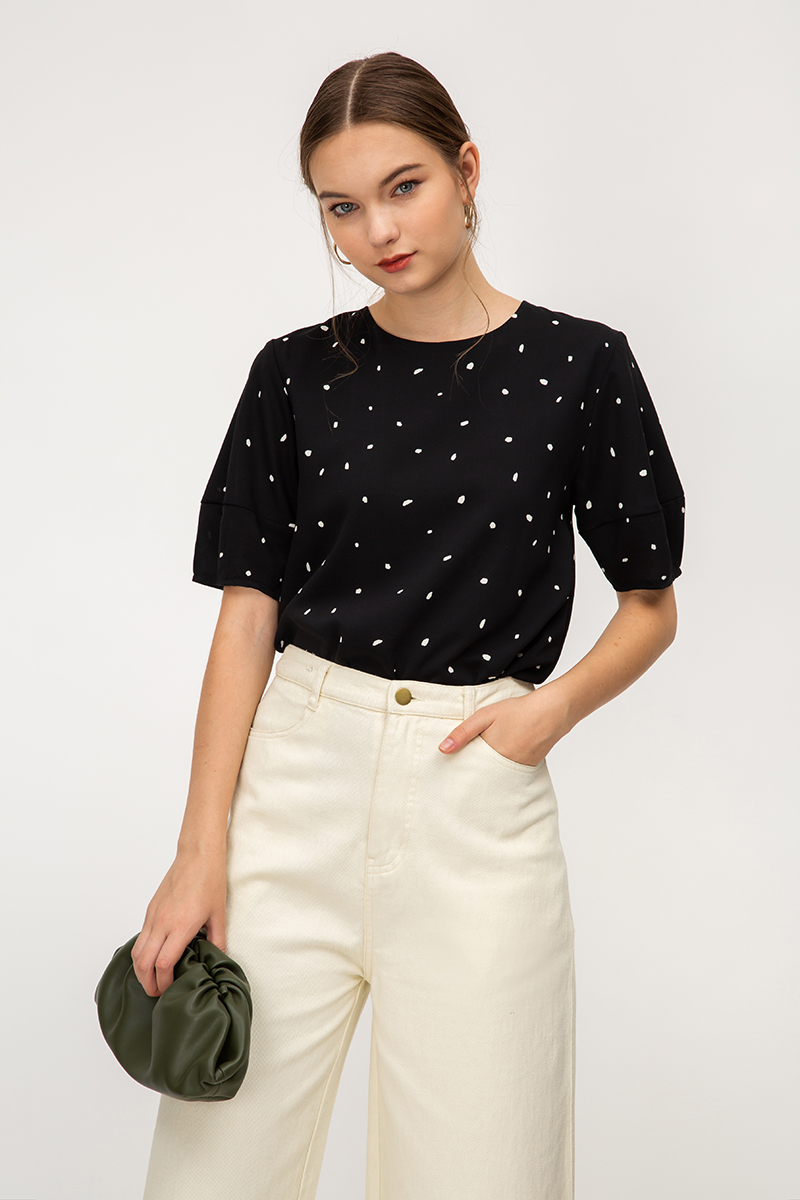 SIGNE POLKADOT BALLOON SLEEVE TOP
