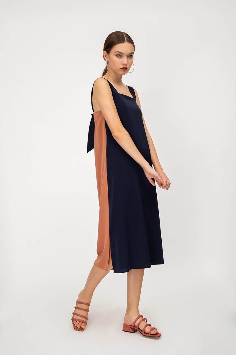 CAMRYN COLOURBLOCK KNOT STRAP MIDI DRESS