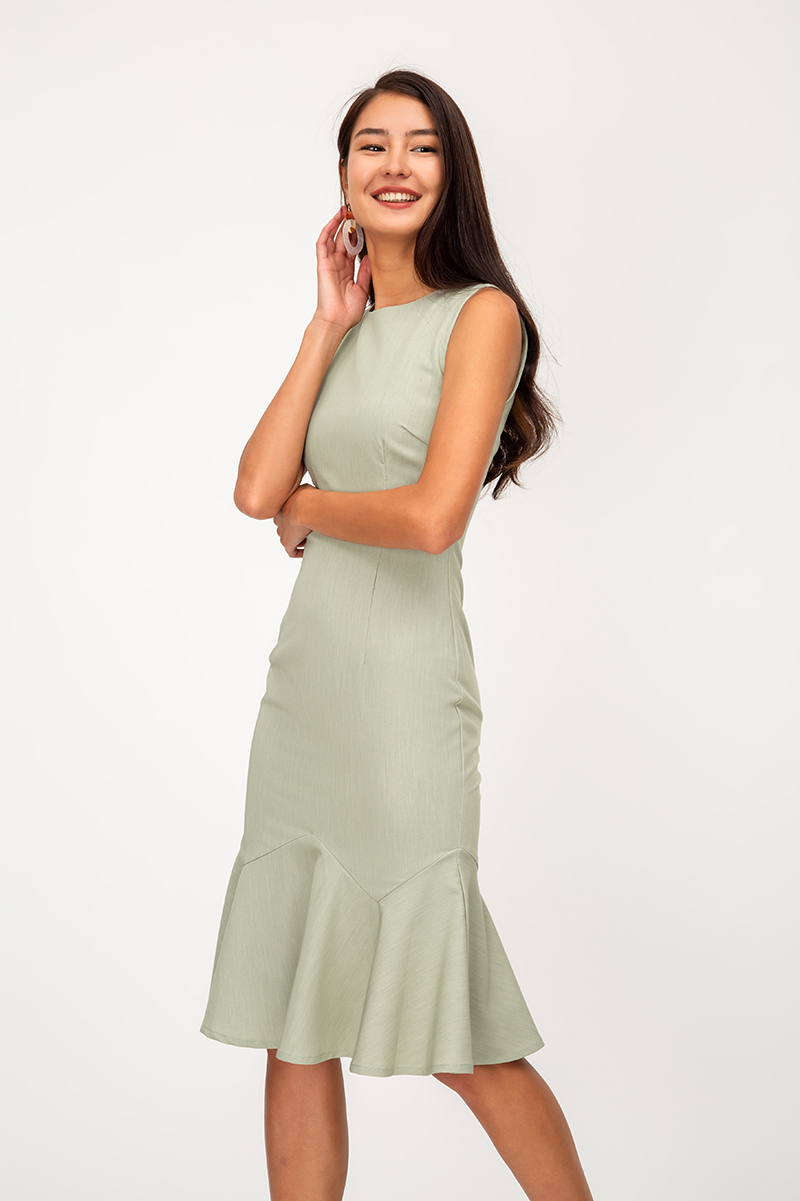 PHOEBE MERMAID FLOUNCE HEM MIDI DRESS