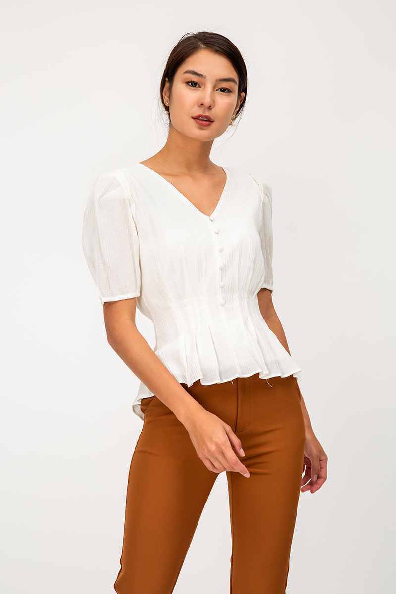 GWENETH TEXTURED PUFF SLEEVE TOP