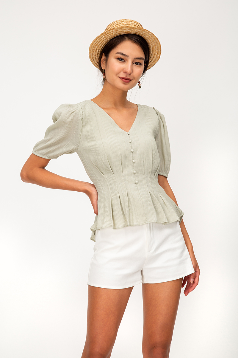 *BACKORDER* GWENETH TEXTURED PUFF SLEEVE TOP