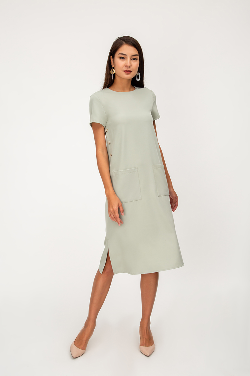 *BACKORDER 2* KEDI SIDE BUTTONS MIDI DRESS
