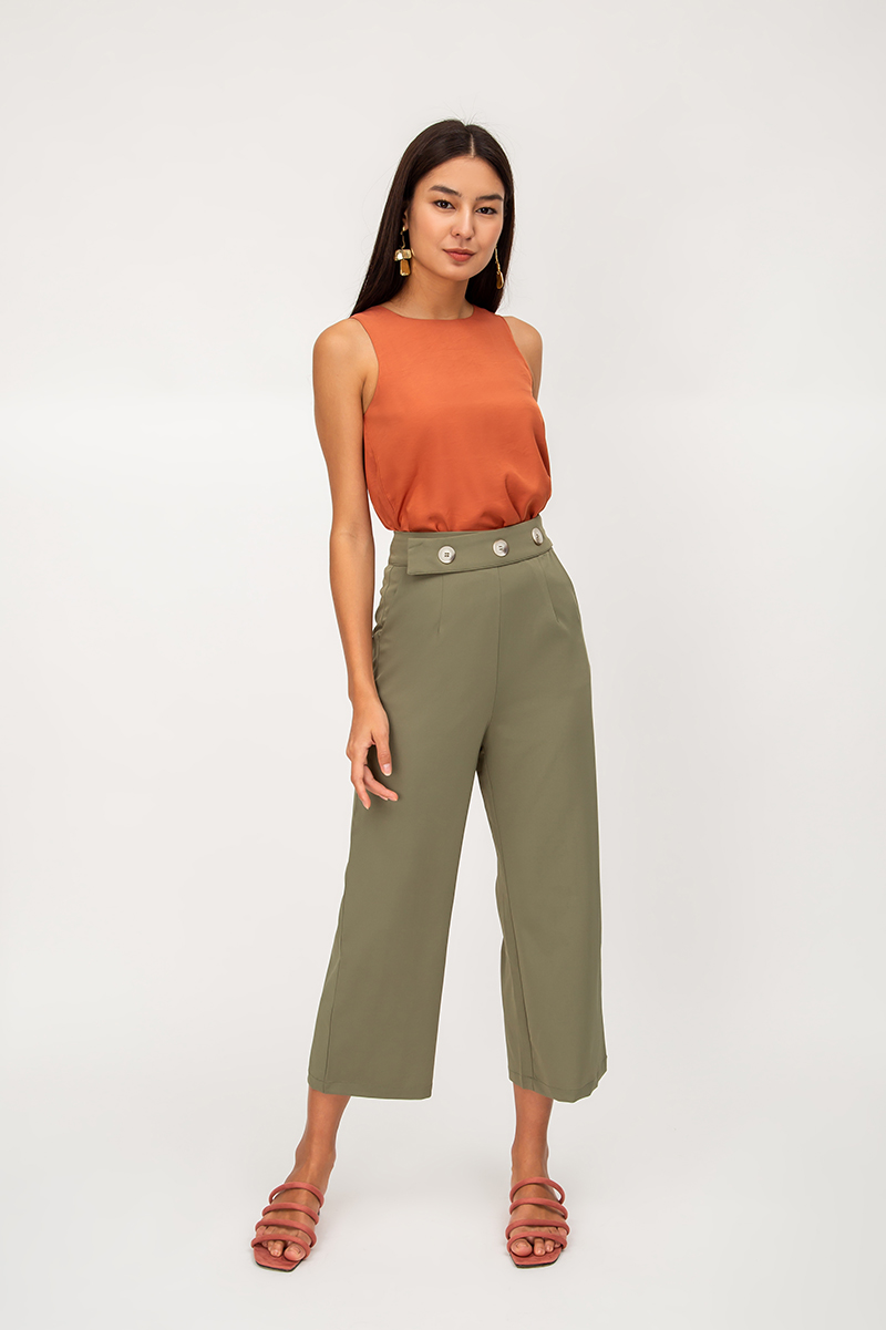 KALEN THREE BUTTON HIGHWAIST PANTS
