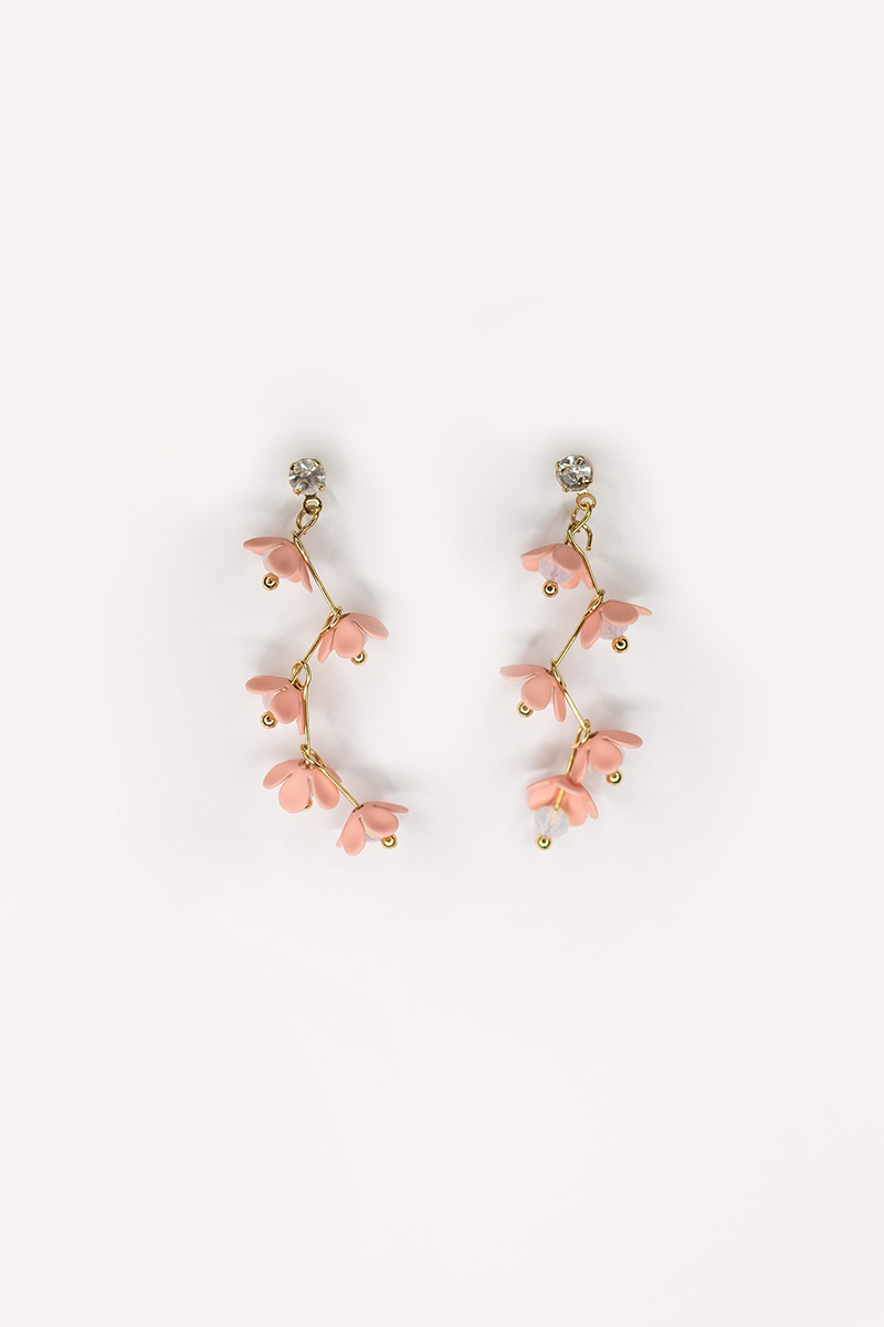 PINK FLOWER BEAD DANGLE EARRINGS