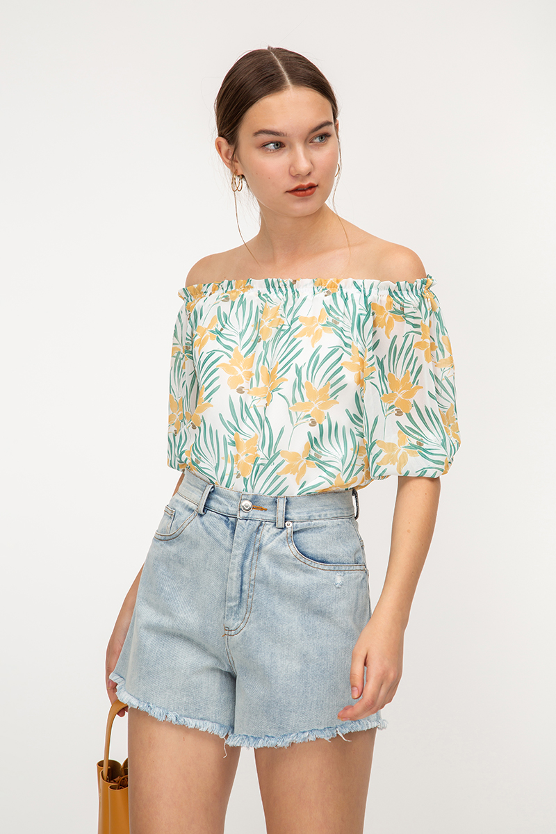 LARYNA FLORAL OFF SHOULDER TOP