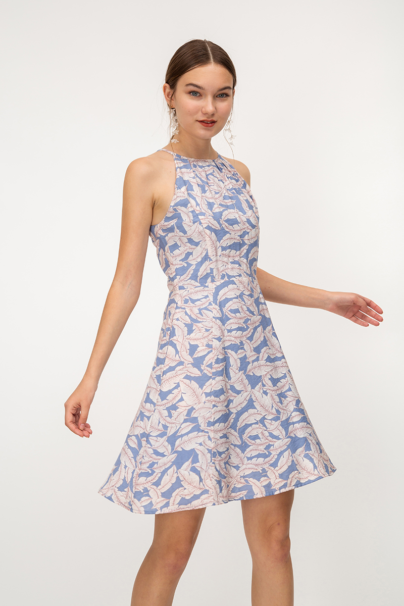 MARGO FEATHER PRINT HALTER SKATER DRESS