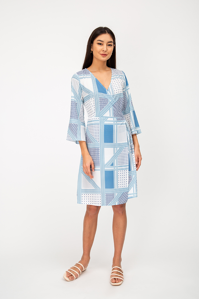 KAZAYA GEOMETRIC WRAP DRESS