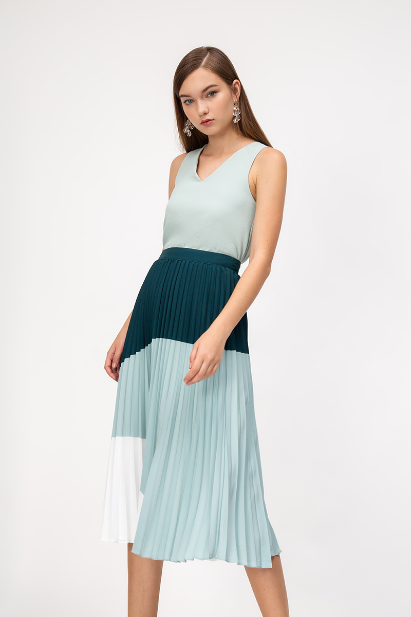 EDALINE COLOURBLOCK PLEATED MIDI SKIRT