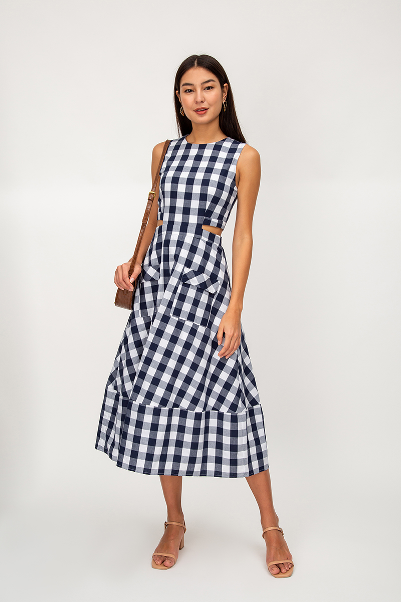 *BACKORDER* DAWN CHECKERED WAIST CUTOUT MIDI DRESS