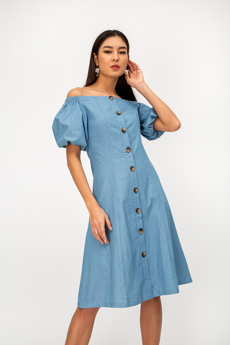 LYNEL DENIM OFF SHOULDER DRESS