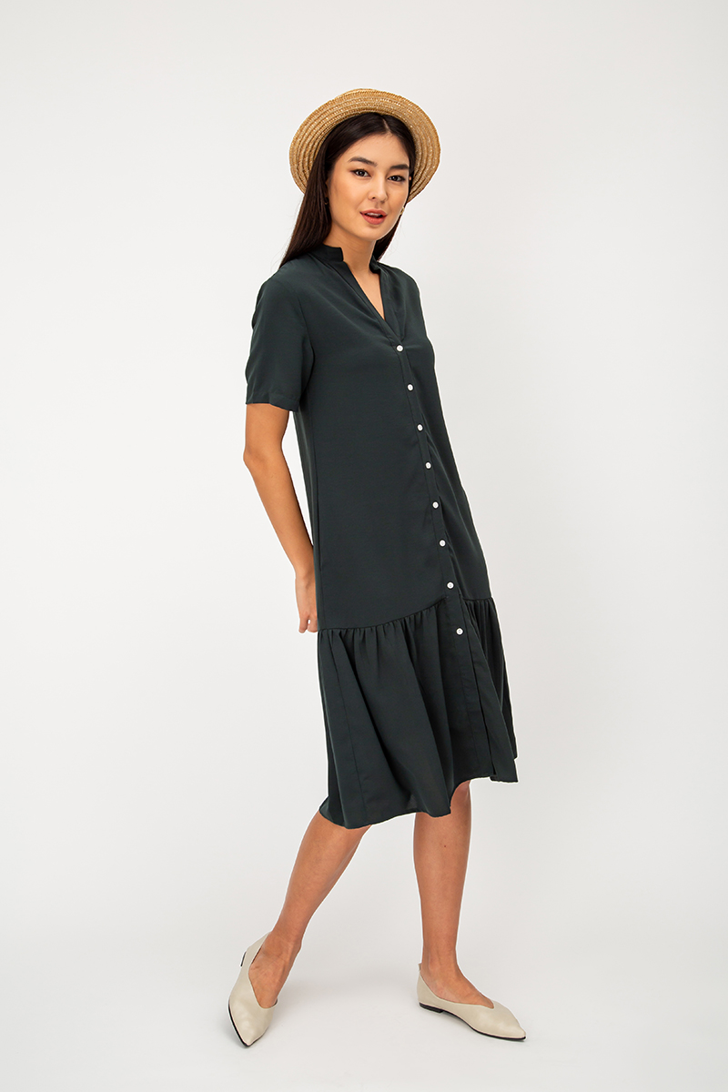 SURIE BUTTONDOWN DROPWAIST MIDI DRESS