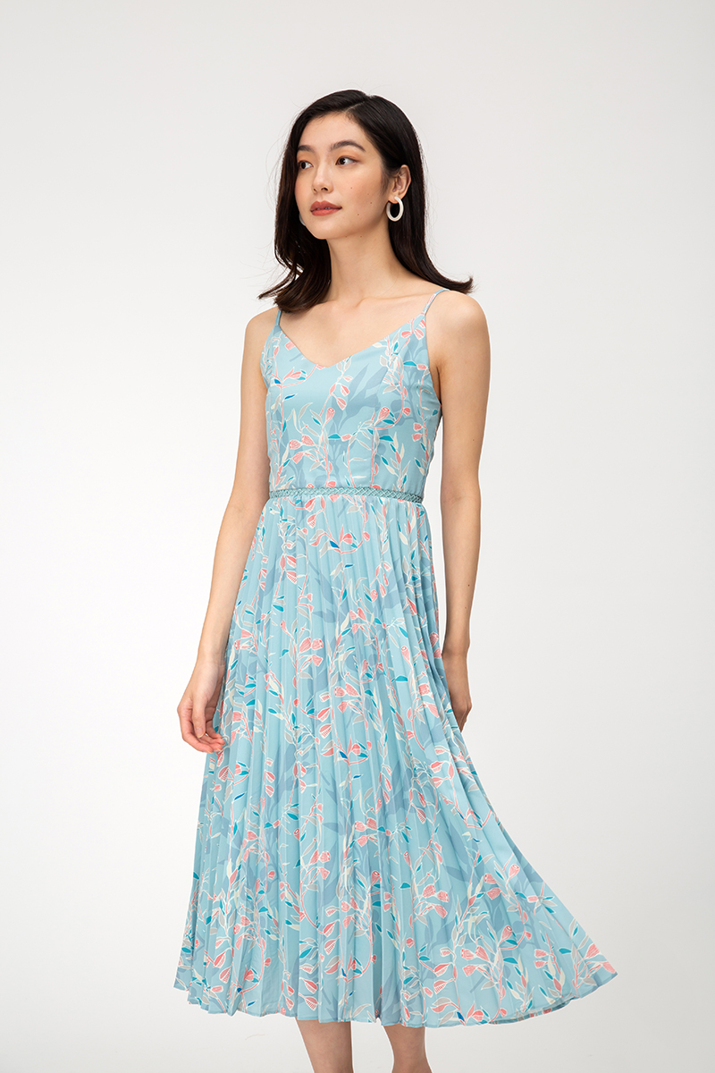 MARIET FLORAL MIDI PLEATED DRESS