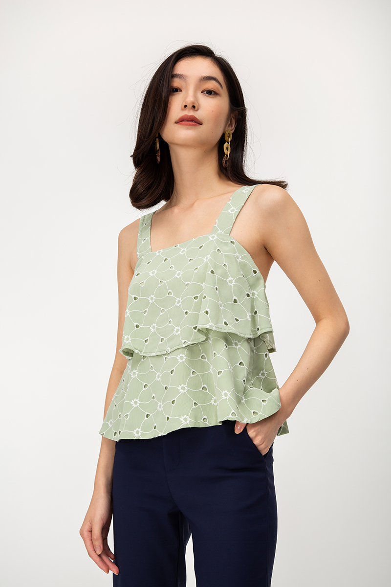 TIANA TIERED EYELET TOP