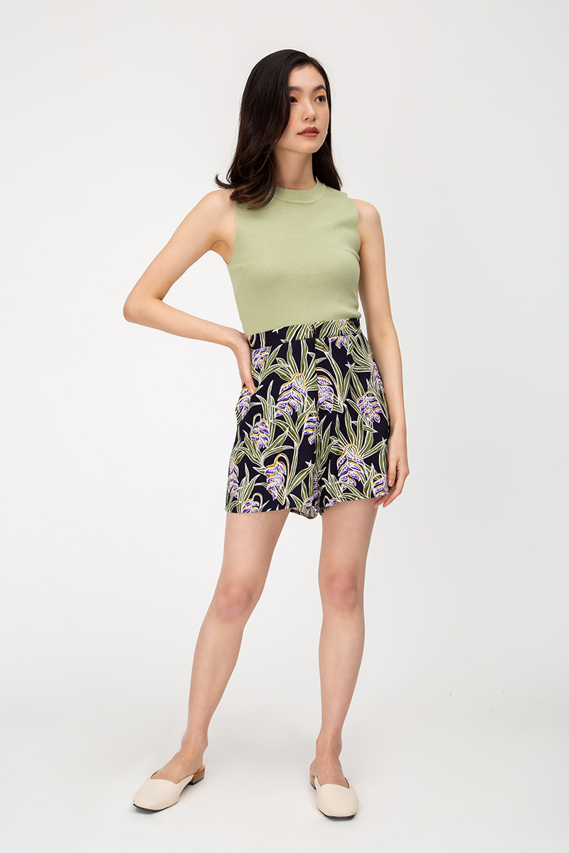 GALLIA BATIK HIGHWAIST FLARE SHORTS