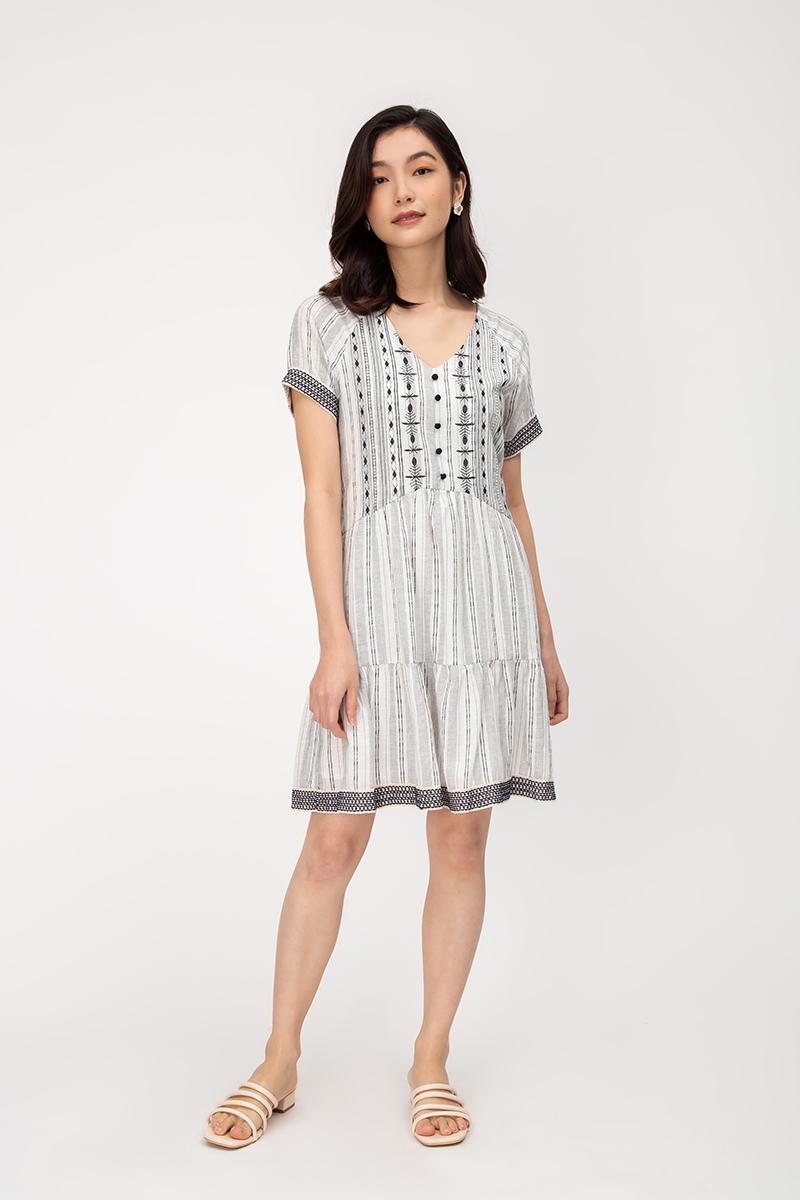 MALIA BOHO EMBROIDERED DRESS