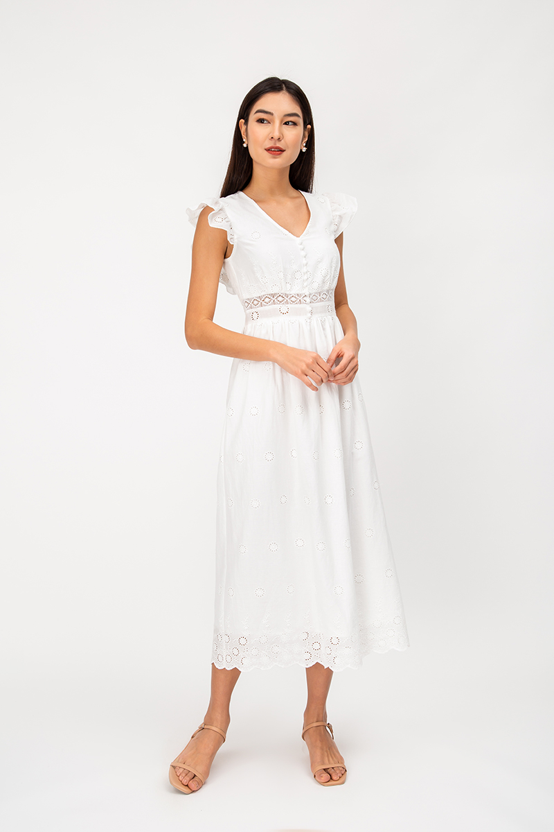 *BACKORDER* EDITH CROCHET CUTOUT MAXI DRESS