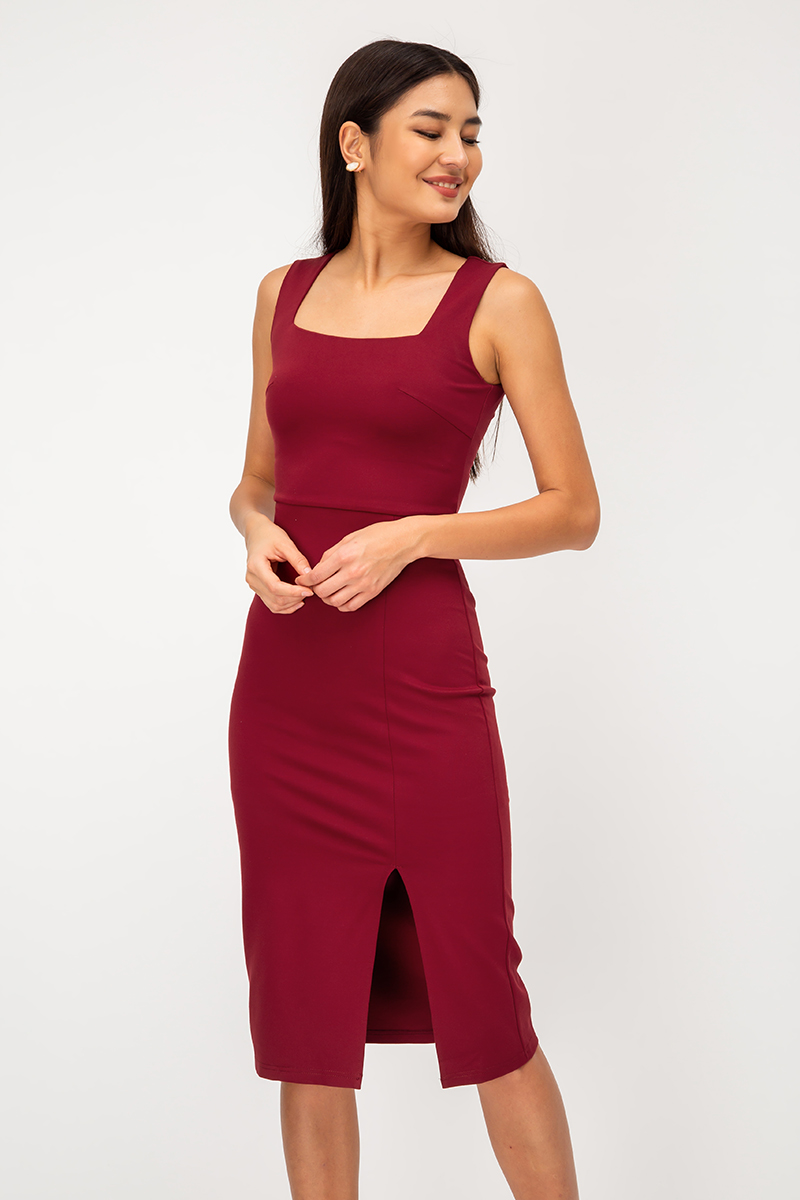 ELANA SQUARENECK SLIT MIDI DRESS
