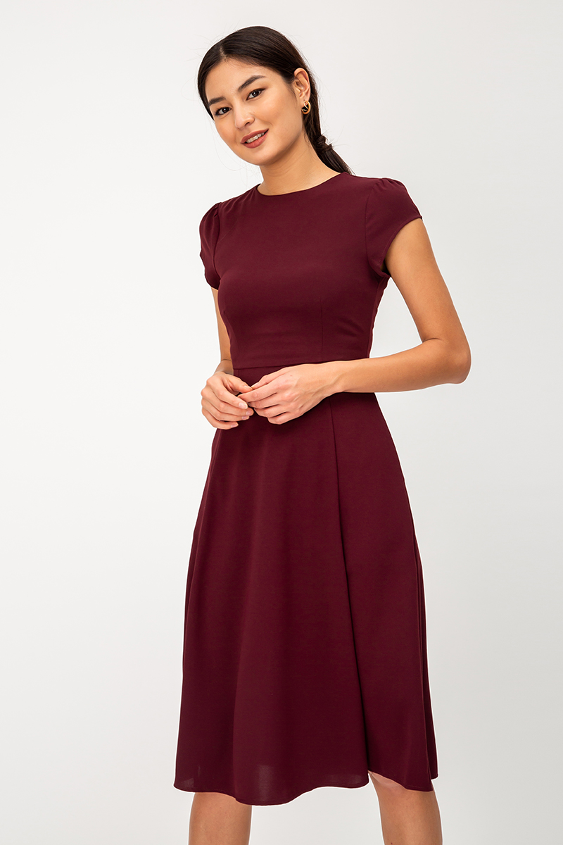 JERLYN SKATER SLIT MIDI DRESS