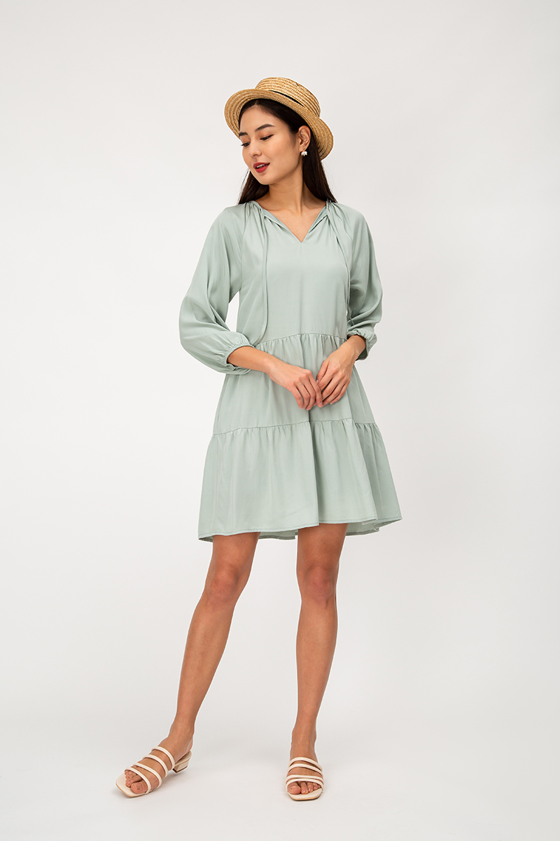 FLYNN TENCEL TIERED FLARE DRESS
