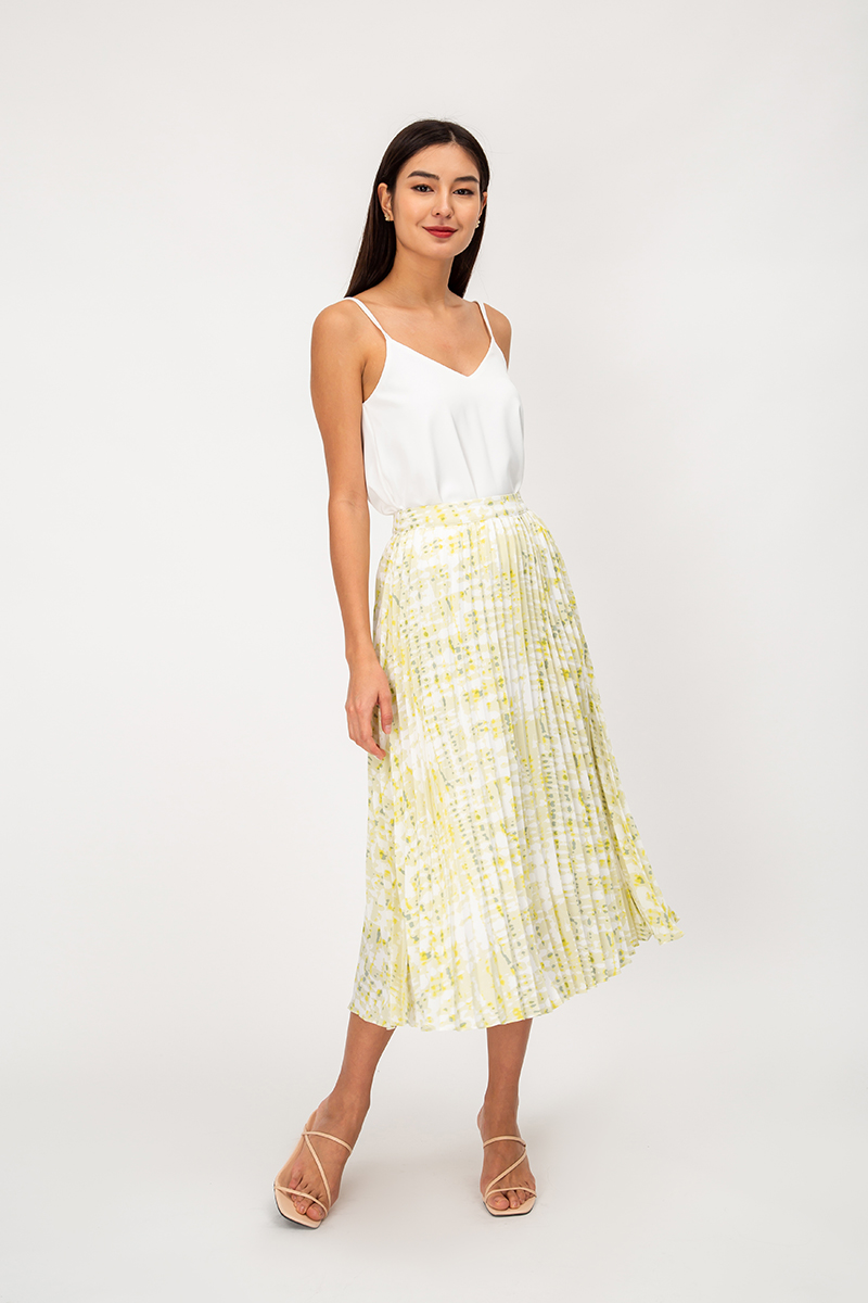 TALIA TIE DYE PLEATED MIDI SKIRT