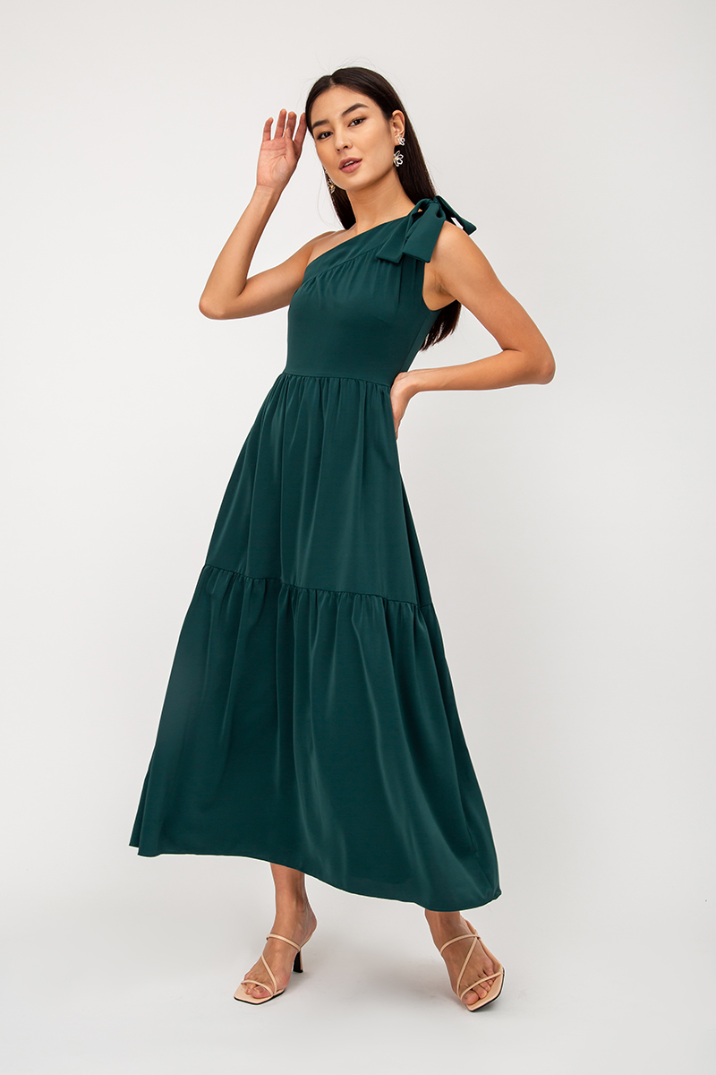 NATASHA TOGA TIE SHOULDER MAXI DRESS